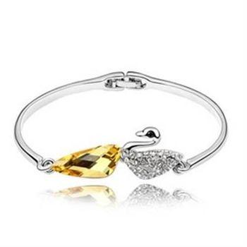 【米蘭精品】925純銀手環水晶手鍊精緻獨特優美天鵝