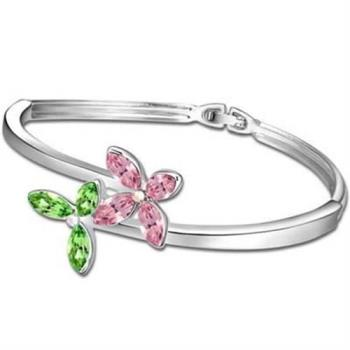 【米蘭精品】925純銀手環水晶手鍊華麗優雅花開造型