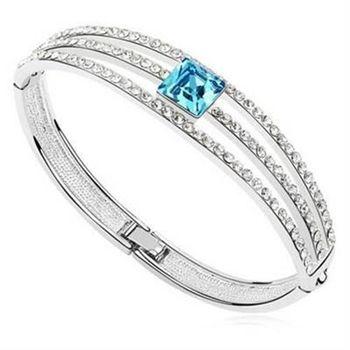【米蘭精品】925純銀手環水晶手鍊特選時尚方形風格