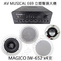 ~AV MUSICAL ^#43 MAGICO~藍芽 立體聲擴大機 ^#43 圓形吸頂式喇