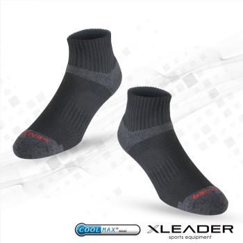 LEADER COOLMAX 除臭 機能運動襪(黑色)
