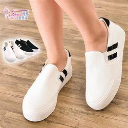 ShoesClub054-F151簡單個性線條鬆緊帶休閒帆布懶人包鞋2色黑/白