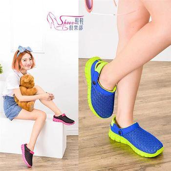 【ShoesClub】【189-P13】POLO 輕便網布兩用前包鞋款休閒拖鞋.2色 藍綠/黑桃