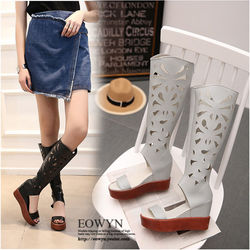 EOWYN學院風時尚平跟燒花拉鏈歐美內增高坡跟羅馬涼鞋EMD04923-89/3色/34-39碼現貨+預購