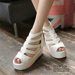 EOWYN時尚夏季新款平跟魚嘴拉鏈線條內增高坡跟涼鞋EMD04922-82/2色/34-39碼現貨+預購