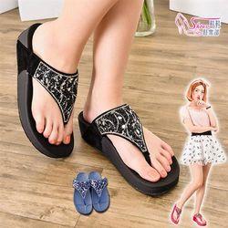 ShoesClub023-C511台灣製MIT閃耀水鑽人體工學厚底夾腳拖鞋3色黑/藍/桃