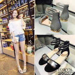EOWYN流行時尚夏季新款金屬裝飾拉鏈平底涼鞋EMD04915-74/3色/34-39碼現貨+預購