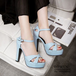 EOWYN夏季潮流顯瘦新款一字釦環高跟涼鞋EMD04913-74/3色/34-39碼現貨+預購