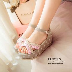EOWYN新款時尚編織一字釦環厚底平跟涼鞋EMD04912-69/3色/34-39碼現貨+預購