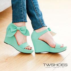 TW Shoes一字立體蝴蝶結厚底楔型涼鞋(K122E2215)