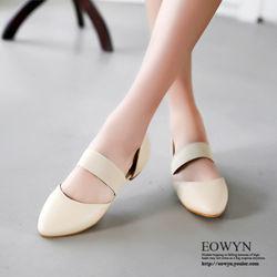 EOWYN韓系百搭涼鞋尖頭拼色舒適平底鞋EMD04903-68/3色/34-39碼現貨+預購