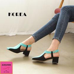 ALMANDO-SHOES正韓雙色麂皮方頭粗跟涼鞋韓國空運文青風女性休閒撞色涼鞋