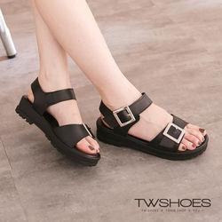 TW Shoes韓系簡約方釦一字寬帶涼鞋(K122A3303)