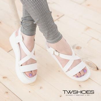 【TW Shoes】一字交叉繫踝厚底涼鞋(K122I2596)