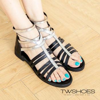 【TW Shoes】韓國直送-金屬帶羅馬平底涼鞋(K122B2172)
