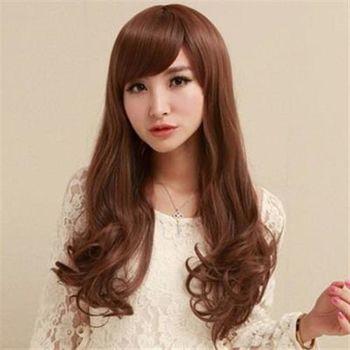 【米蘭精品】長假髮整頂假髮斜瀏海蓬鬆氣質4色