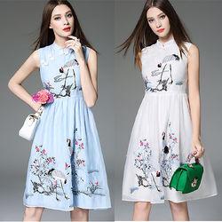 魅麗女人中國風刺繡旗袍領無袖精品洋裝(C1175)