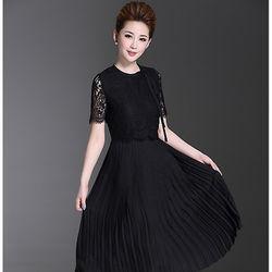 魅麗女人蕾絲拼接設計百褶雪紡精品洋裝(C1169)