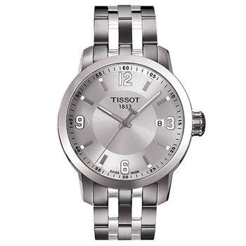 TISSOT PRC200 系列都會石英腕錶-銀/39mm/T0554101103700