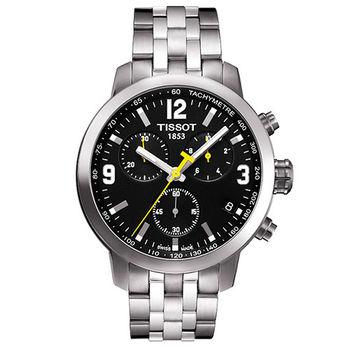 TISSOT PRC 200 競速三眼計時腕錶-黑/銀/42mm/T0554171105700