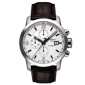 TISSOT PRC200 三眼計時機械皮帶腕錶-銀/43mm/T0554271601700