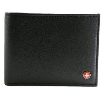 【Alpine Swiss】2016時尚雙折2合1信用卡黑色皮夾預購)