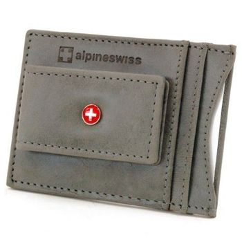 【Alpine Swiss】2016時尚瑞士十字標記磁鐵夾灰色皮夾(預購)