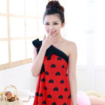 Hannah C-單肩棉布睡裙(紅底黑心)【MALL123嚴選】