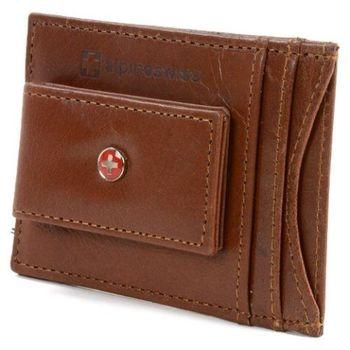 【Alpine Swiss】2016時尚瑞士十字標記磁鐵夾棕色皮夾(預購)