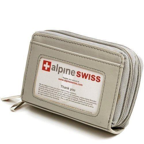 【Alpine Swiss】2016女瑞士十迷你信用卡淺灰色拉鍊管理夾包(預購)