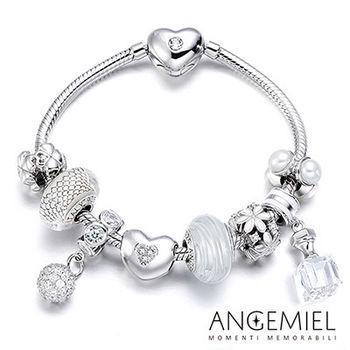 Angemiel安婕米 義大利珠飾 925純銀手鍊+串珠套組(白色花嫁)