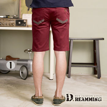 【Dreamming】韓版潮流條紋棉質休閒短褲(棗紅)