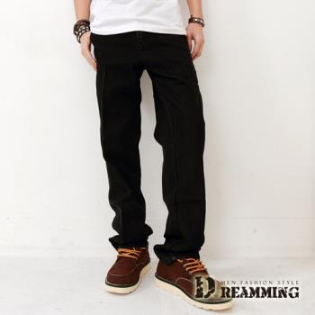 【Dreamming】厚磅斜口袋小直筒牛仔工作褲(黑色)