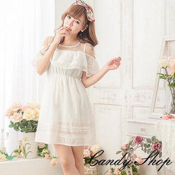 CANDY小舖      雪紡紗質無袖挖肩布蕾絲洋裝 ( 白 / 黑 ) 2 色選