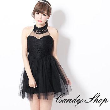 CANDY小舖 繞頸透膚蕾絲挖背網紗洋裝