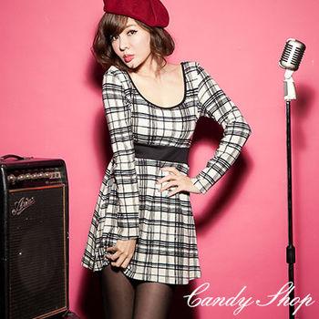 Candy小舖 低胸大圓領美背格紋縮腰洋裝