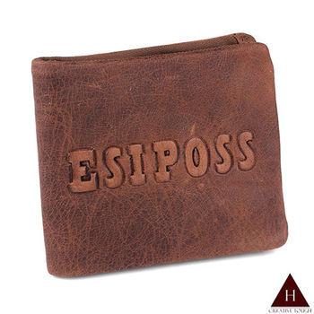 【H-CT】ESIPOSS牛皮紙質感紅棕短夾(E235-3K-Z)
