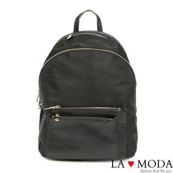 La Moda 完美比例~特殊剪裁包型斜拉鏈防潑水配真皮後背包