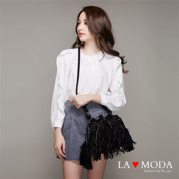 La Moda 模特兒街拍Look麂皮絨流蘇束口手提肩背水桶包 (黑)