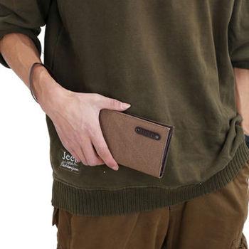 窩自在★新型設計韓版時尚帆布錢包相片包手拿包-咖啡色