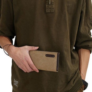 窩自在★新型設計韓版時尚帆布錢包相片包手拿包-卡其色