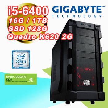 |技嘉B150平台|專業繪圖 Intel i5-6400四核 16G記憶體 1TB大容量 SSD 128G Quadro K620 2G 桌上型電腦