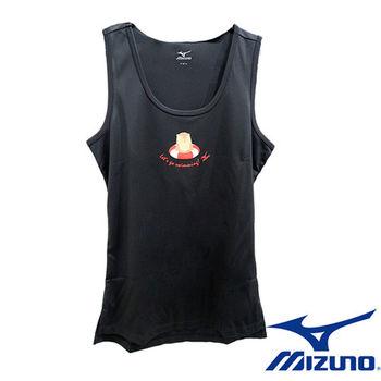 【Mizuno 美津濃】 女休閒無袖背心 N2TA670309 (黑)