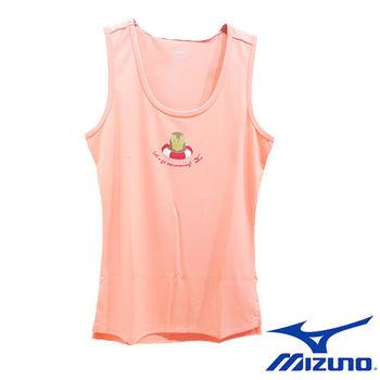 【Mizuno 美津濃】 女休閒無袖背心 N2TA670351 (粉橘)