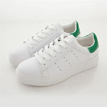 《DOOK》真皮舒適走路鞋-後跟拼接平底休閒鞋/小白鞋-白綠款