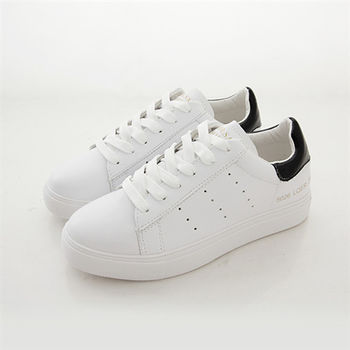 《DOOK》真皮舒適走路鞋-後跟拼接平底休閒鞋/小白鞋-白黑款