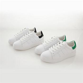 《DOOK》真皮舒適走路鞋-後跟拼接平底休閒鞋/小白鞋-2款