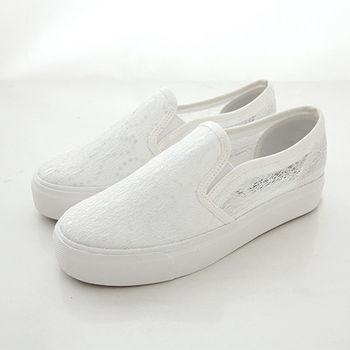 《DOOK》透膚蕾絲小亮片厚底懶人鞋-白色