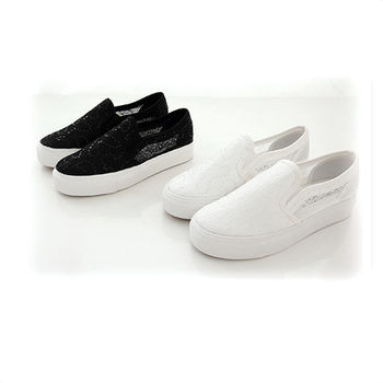 《DOOK》透膚蕾絲小亮片厚底懶人鞋-2色