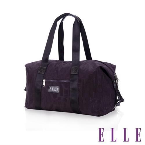 【ELLE】優雅淑女皺褶包旅行包大空間防潑水設計款(紫 EL82346-24)